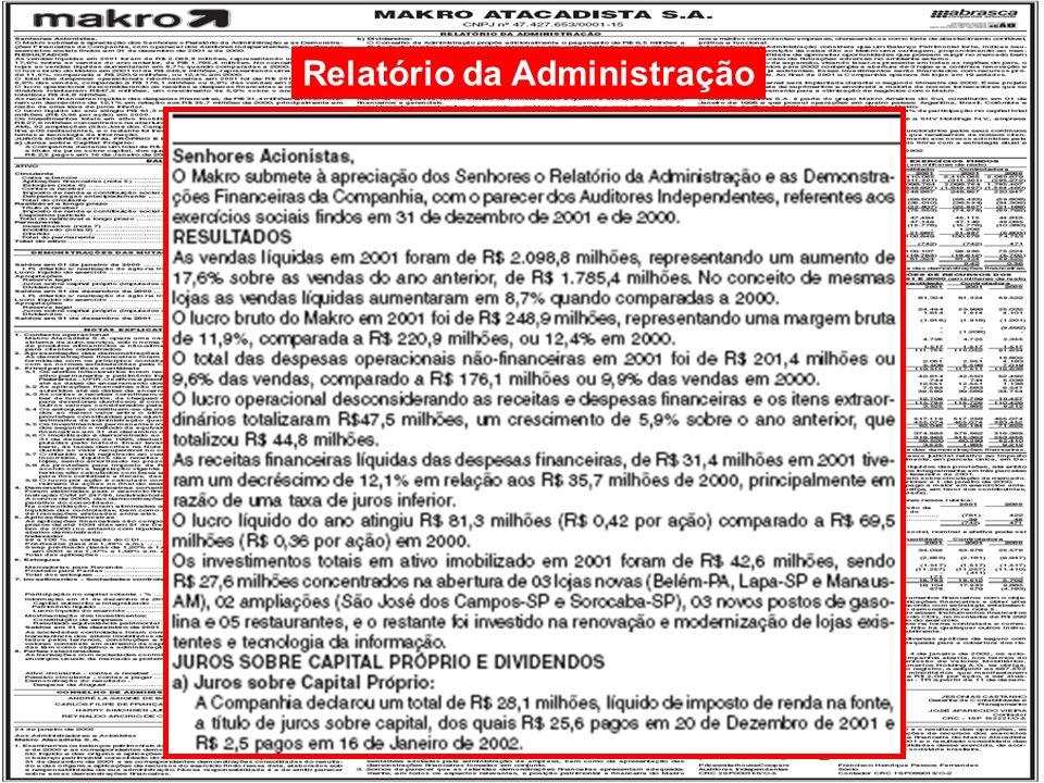 13/125 Engenharia de Produção – Custos Industriais – Prof. Dr. Ualison Rébula de Oliveira Relatório da Administração