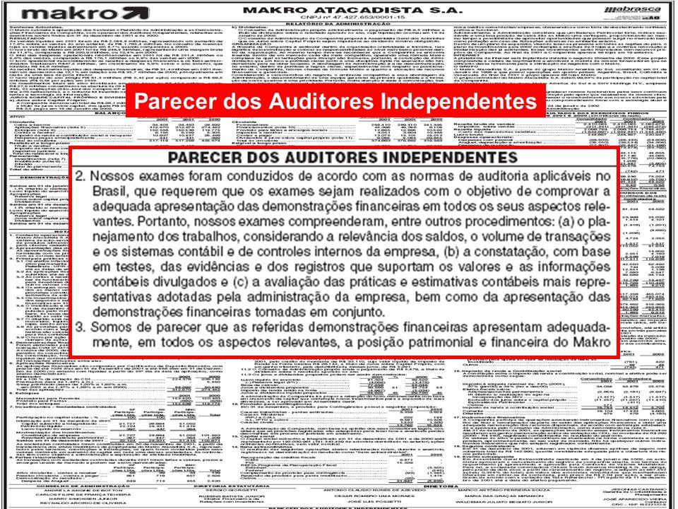 17/125 Engenharia de Produção – Custos Industriais – Prof. Dr. Ualison Rébula de Oliveira Parecer dos Auditores Independentes