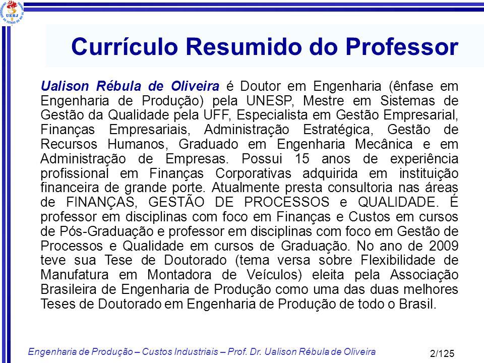 2/125 Engenharia de Produção – Custos Industriais – Prof. Dr. Ualison Rébula de Oliveira Currículo Resumido do Professor Ualison Rébula de Oliveira é