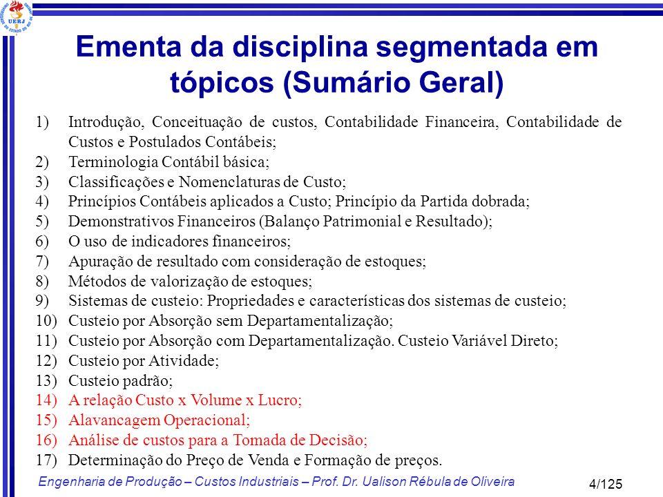 4/125 Engenharia de Produção – Custos Industriais – Prof. Dr. Ualison Rébula de Oliveira 1)Introdução, Conceituação de custos, Contabilidade Financeir