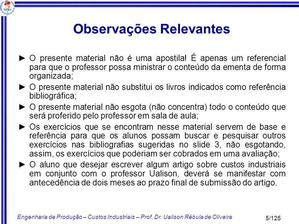 116/125 Engenharia de Produção – Custos Industriais – Prof.