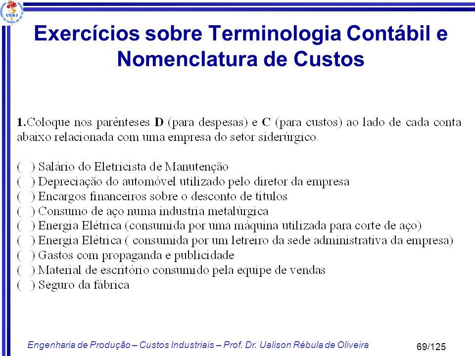 69/125 Engenharia de Produção – Custos Industriais – Prof. Dr. Ualison Rébula de Oliveira Exercícios sobre Terminologia Contábil e Nomenclatura de Cus