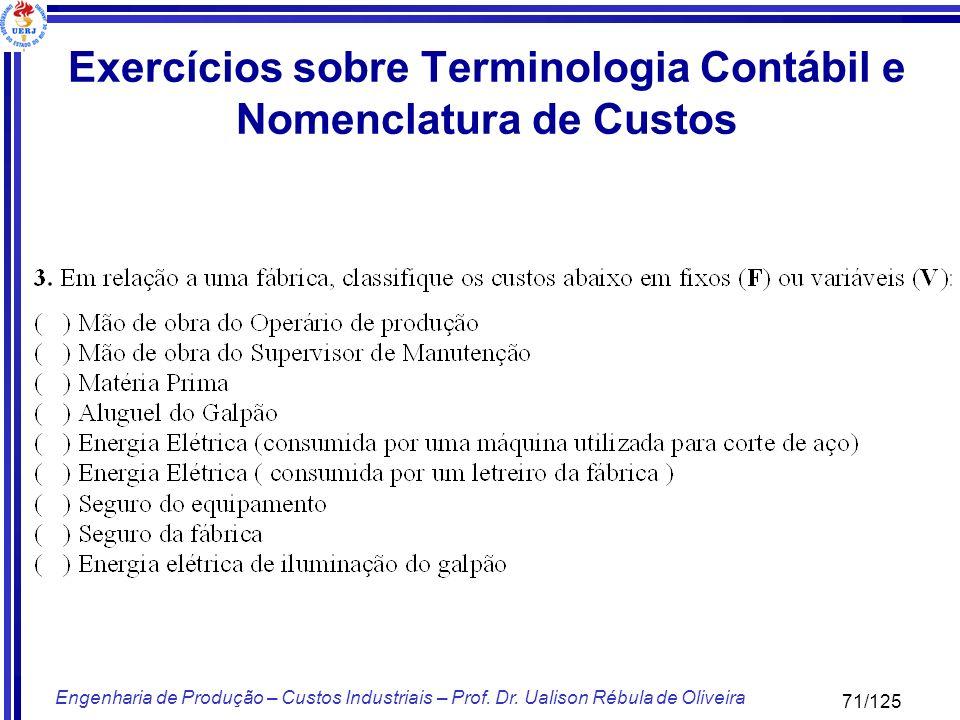 71/125 Engenharia de Produção – Custos Industriais – Prof. Dr. Ualison Rébula de Oliveira Exercícios sobre Terminologia Contábil e Nomenclatura de Cus