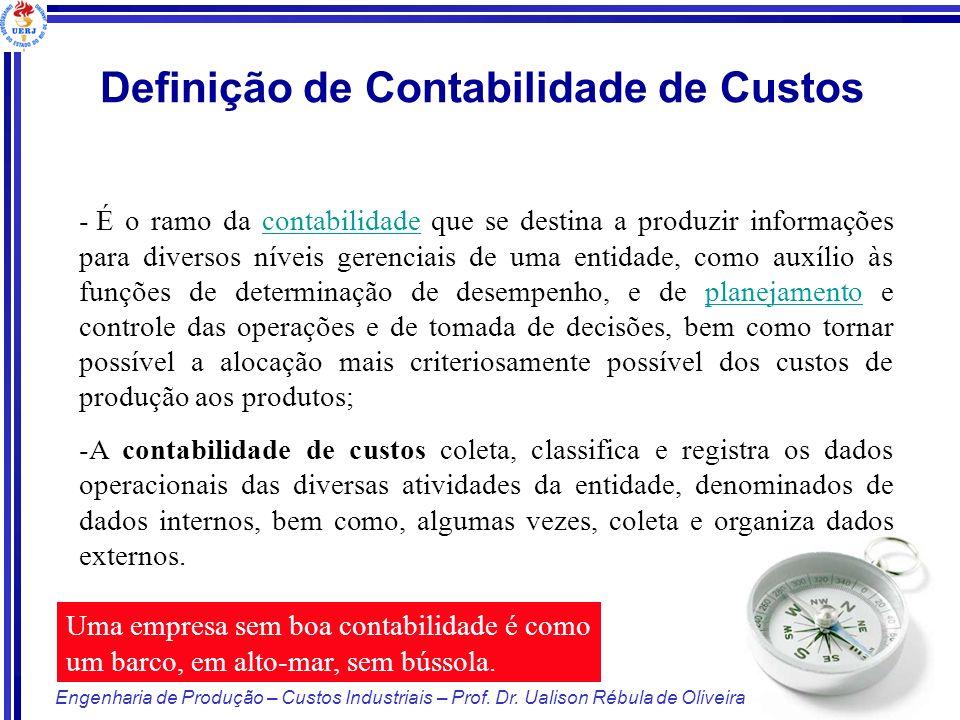 8/125 Engenharia de Produção – Custos Industriais – Prof. Dr. Ualison Rébula de Oliveira - É o ramo da contabilidade que se destina a produzir informa