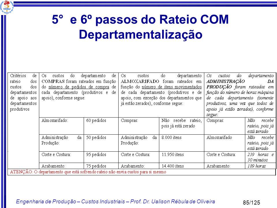 85/125 Engenharia de Produção – Custos Industriais – Prof. Dr. Ualison Rébula de Oliveira 5° e 6º passos do Rateio COM Departamentalização