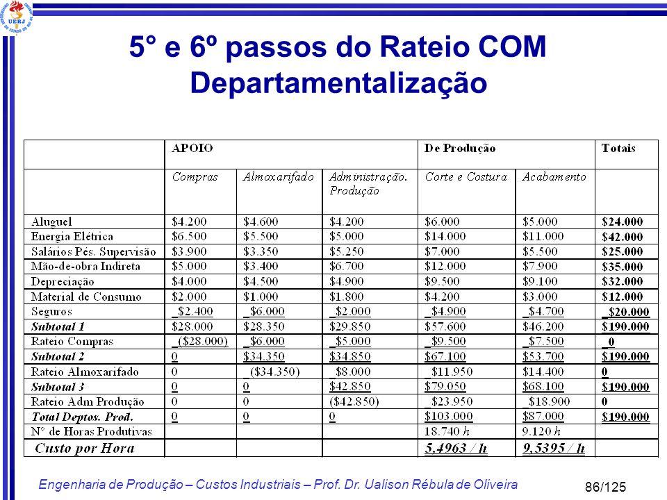 86/125 Engenharia de Produção – Custos Industriais – Prof. Dr. Ualison Rébula de Oliveira 5° e 6º passos do Rateio COM Departamentalização