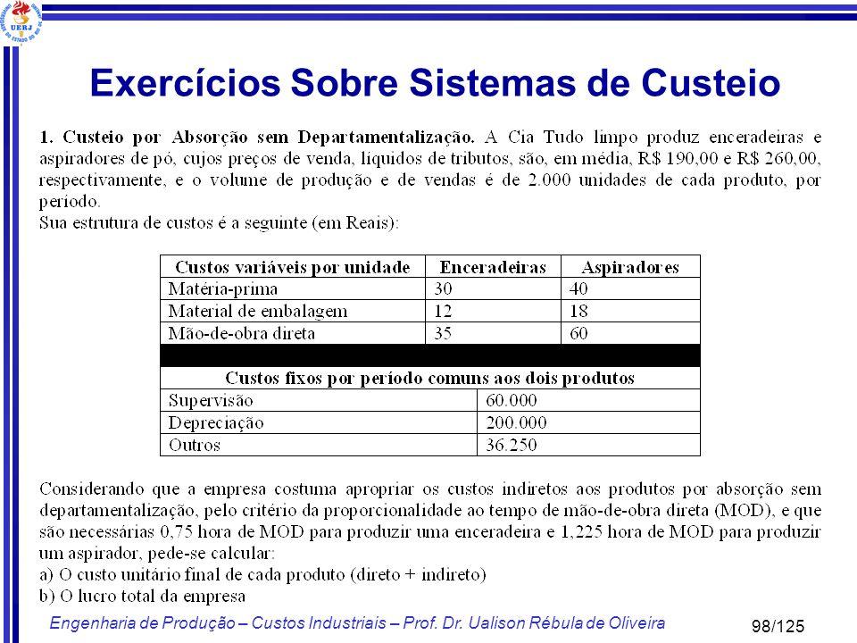 98/125 Engenharia de Produção – Custos Industriais – Prof. Dr. Ualison Rébula de Oliveira Exercícios Sobre Sistemas de Custeio
