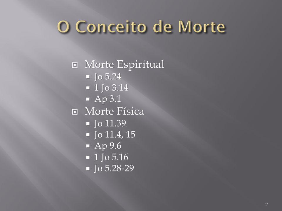Morte Espiritual Morte Espiritual Jo 5.24 Jo 5.24 1 Jo 3.14 1 Jo 3.14 Ap 3.1 Ap 3.1 Morte Física Morte Física Jo 11.39 Jo 11.39 Jo 11.4, 15 Jo 11.4, 1