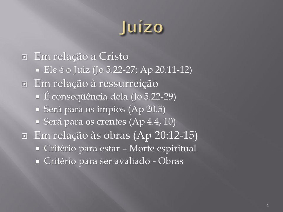 Em relação a Cristo Em relação a Cristo Ele é o Juiz (Jo 5.22-27; Ap 20.11-12) Ele é o Juiz (Jo 5.22-27; Ap 20.11-12) Em relação à ressurreição Em rel