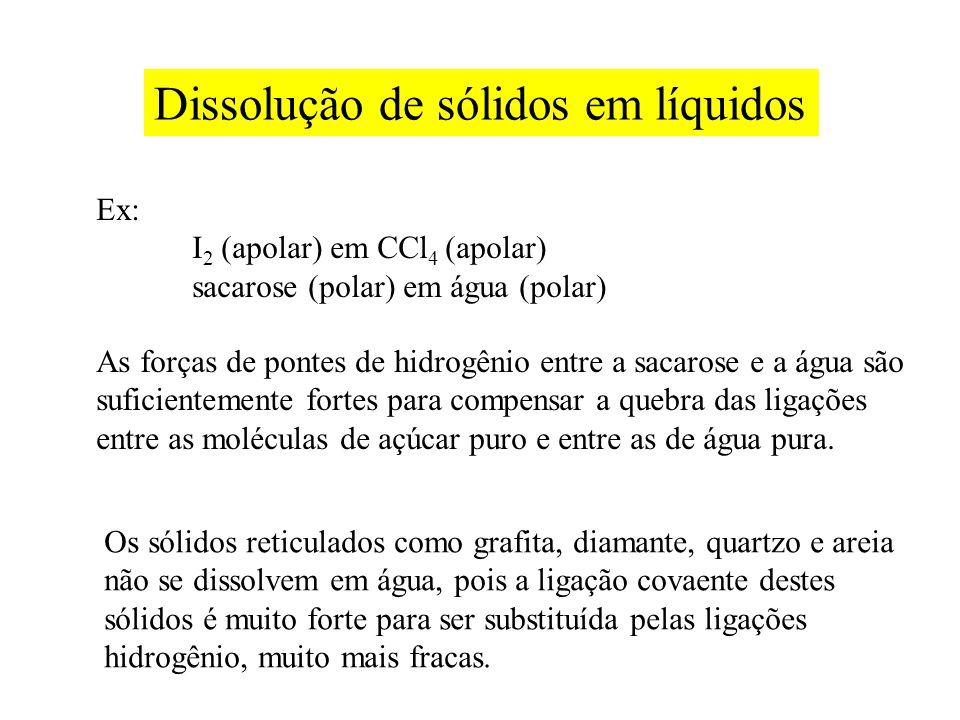 Dissolução de sólidos em líquidos Ex: I 2 (apolar) em CCl 4 (apolar) sacarose (polar) em água (polar) As forças de pontes de hidrogênio entre a sacaro