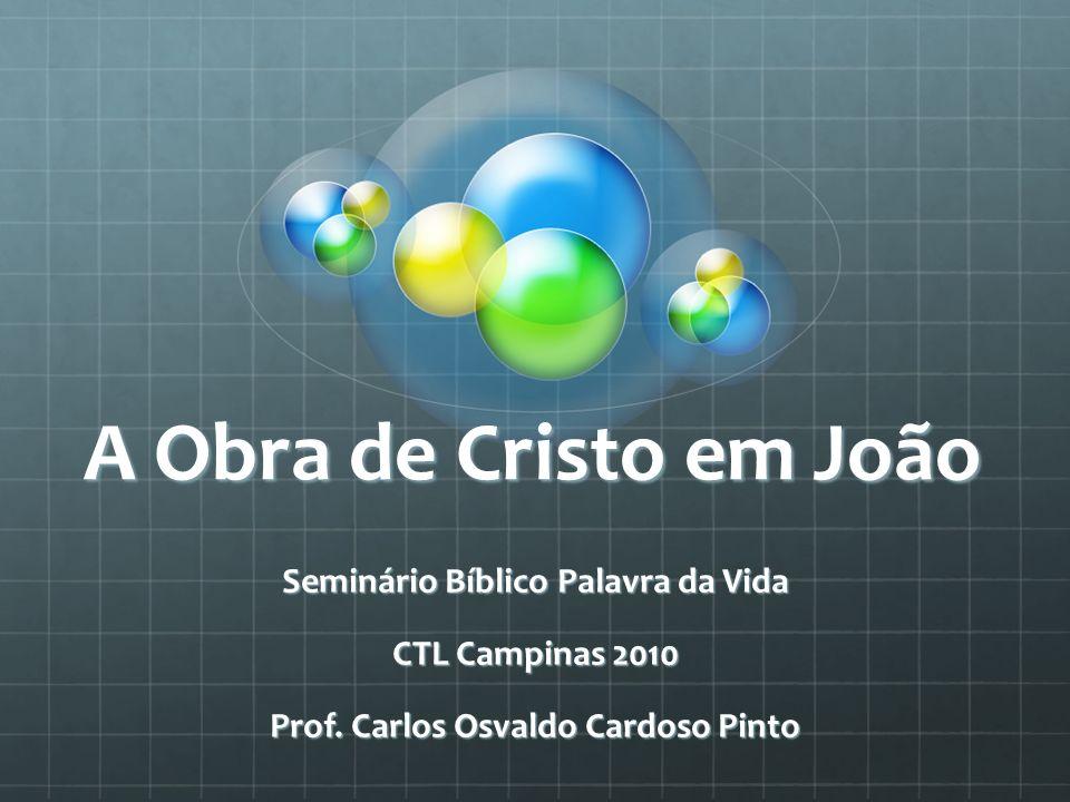 A Obra de Cristo em João Seminário Bíblico Palavra da Vida CTL Campinas 2010 Prof. Carlos Osvaldo Cardoso Pinto