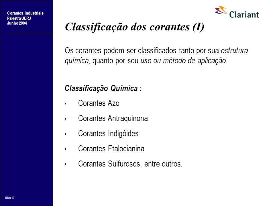 Corantes Industriais Palestra UERJ Junho 2004 Slide 10 Classificação dos corantes (I) Classificação Química : Corantes Azo Corantes Antraquinona Coran
