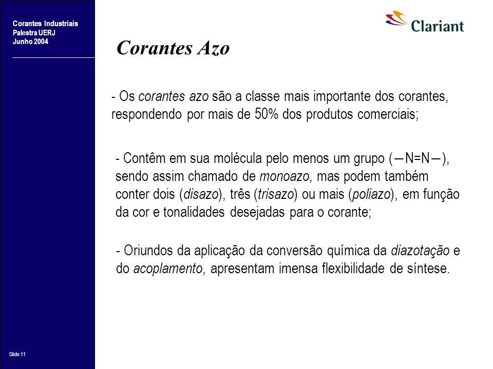 Corantes Industriais Palestra UERJ Junho 2004 Slide 11 Corantes Azo - Os corantes azo são a classe mais importante dos corantes, respondendo por mais