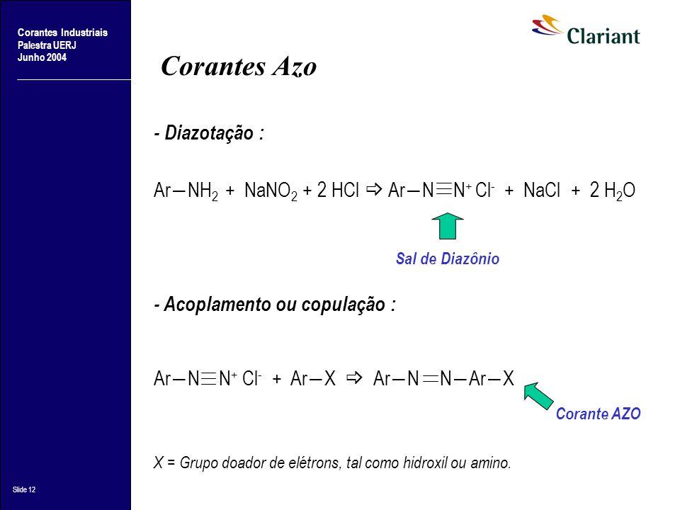 Corantes Industriais Palestra UERJ Junho 2004 Slide 12 Corantes Azo - Diazotação : ArNH 2 + NaNO 2 + 2 HCl ArN N + Cl - + NaCl + 2 H 2 O - Acoplamento