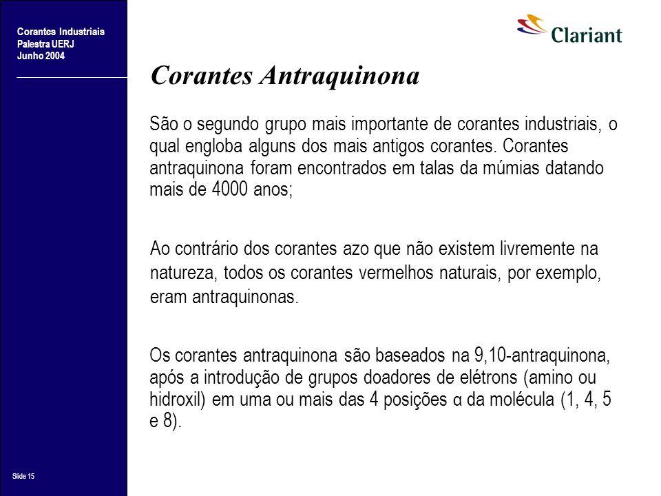 Corantes Industriais Palestra UERJ Junho 2004 Slide 15 Corantes Antraquinona São o segundo grupo mais importante de corantes industriais, o qual englo