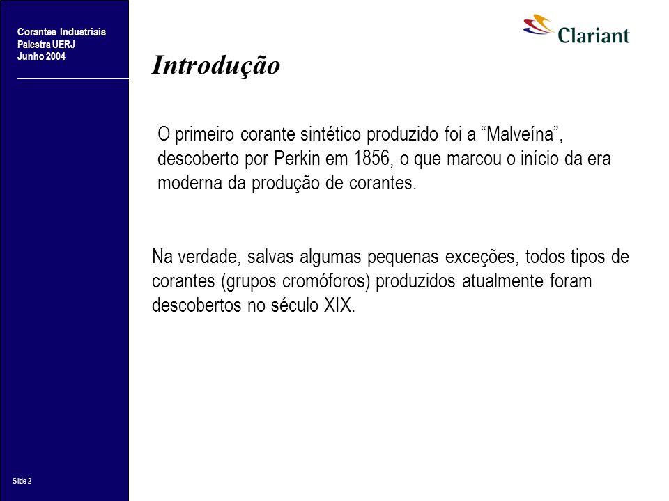 Palestra UERJ Junho 2004 Slide 2 Introdução O primeiro corante sintético produzido foi a Malveína, descoberto por Perkin em 1856, o que marcou o iníci