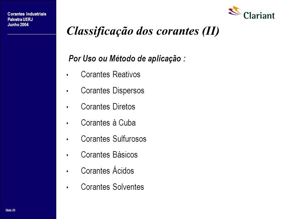 Corantes Industriais Palestra UERJ Junho 2004 Slide 20 Classificação dos corantes (II) Por Uso ou Método de aplicação : Corantes Reativos Corantes Dis