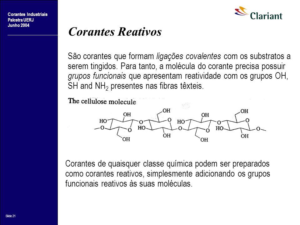 Corantes Industriais Palestra UERJ Junho 2004 Slide 21 Corantes Reativos São corantes que formam ligações covalentes com os substratos a serem tingido