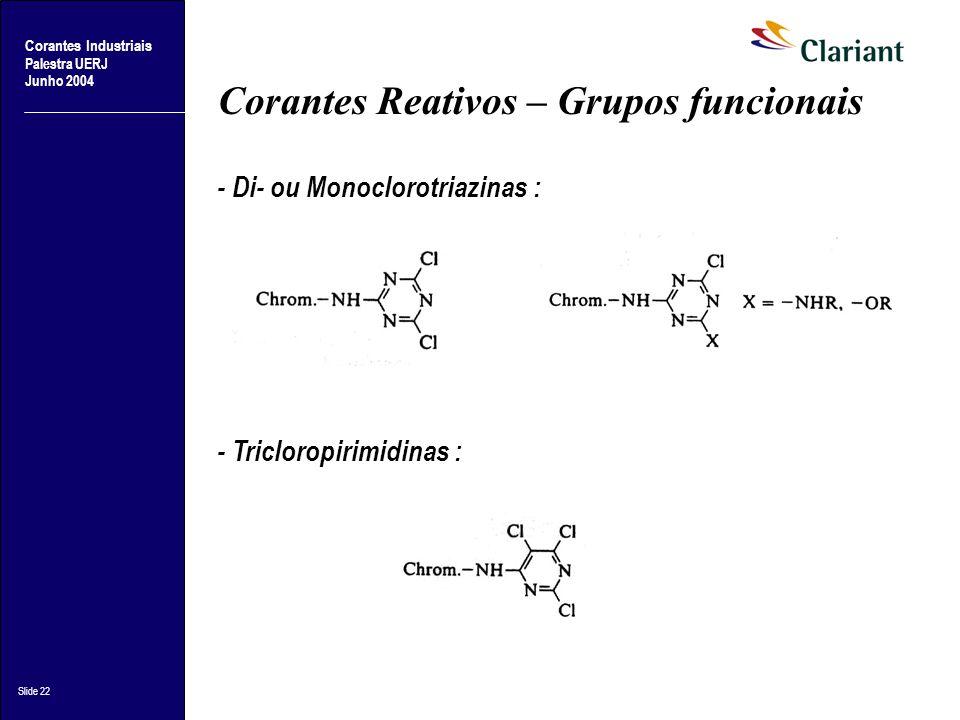 Corantes Industriais Palestra UERJ Junho 2004 Slide 22 Corantes Reativos – Grupos funcionais - Di- ou Monoclorotriazinas : - Tricloropirimidinas :