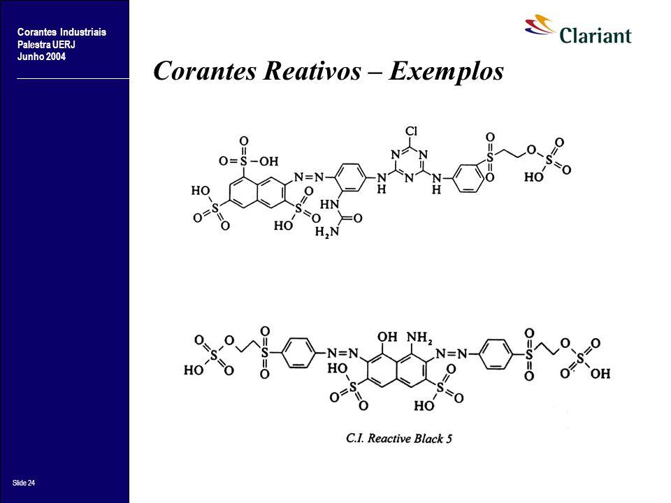 Corantes Industriais Palestra UERJ Junho 2004 Slide 24 Corantes Reativos – Exemplos