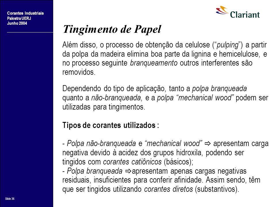 Corantes Industriais Palestra UERJ Junho 2004 Slide 36 Tingimento de Papel Além disso, o processo de obtenção da celulose ( pulping ) a partir da polp