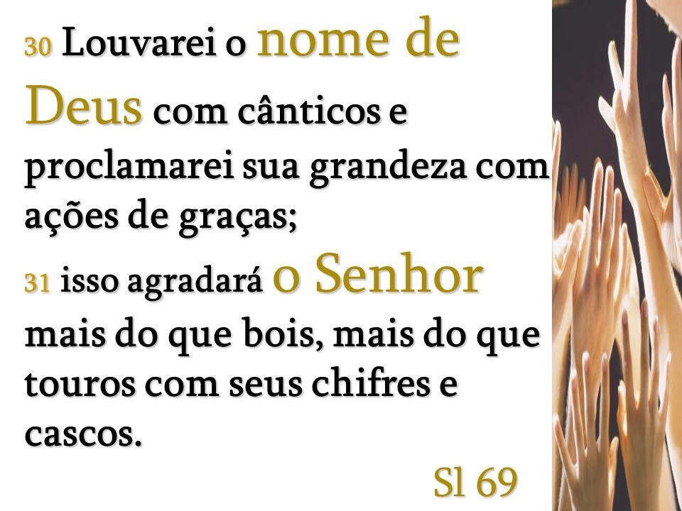 30 Louvarei o nome de Deus com cânticos e proclamarei sua grandeza com ações de graças; 31 isso agradará o Senhor mais do que bois, mais do que touros com seus chifres e cascos.