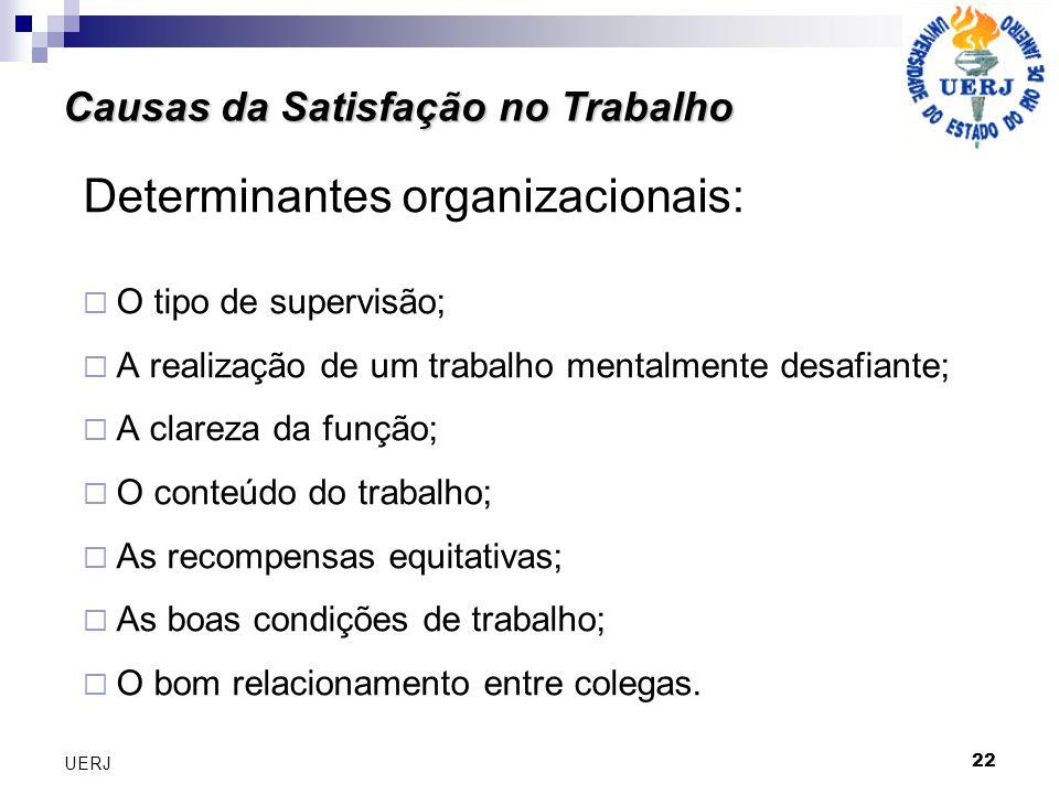 Determinantes organizacionais: O tipo de supervisão; A realização de um trabalho mentalmente desafiante; A clareza da função; O conteúdo do trabalho; As recompensas equitativas; As boas condições de trabalho; O bom relacionamento entre colegas.
