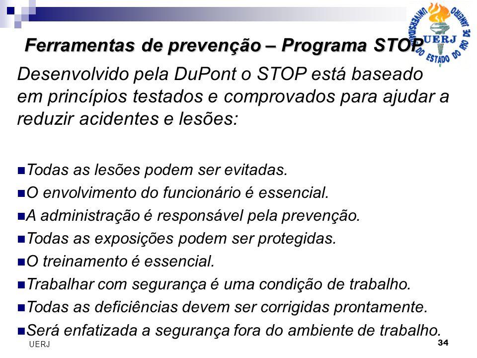Ferramentas de prevenção – Programa STOP 34 UERJ Desenvolvido pela DuPont o STOP está baseado em princípios testados e comprovados para ajudar a reduzir acidentes e lesões: Todas as lesões podem ser evitadas.