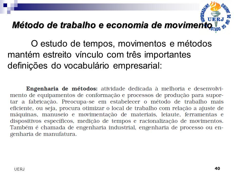 Método de trabalho e economia de movimento 40 UERJ O estudo de tempos, movimentos e métodos mantém estreito vínculo com três importantes definições do vocabulário empresarial: