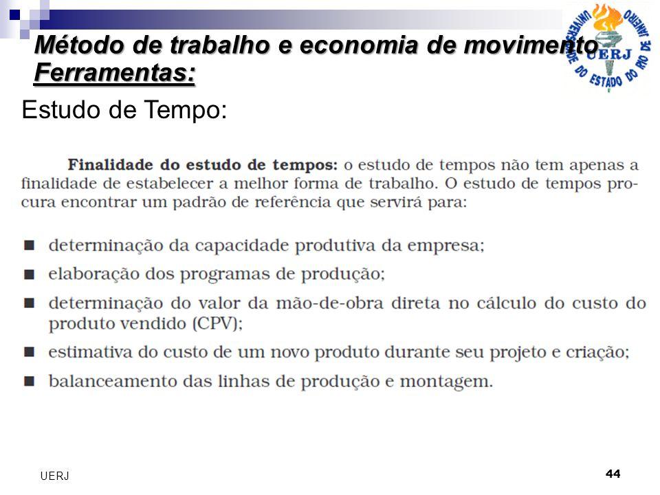 Método de trabalho e economia de movimento Ferramentas: 44 UERJ Estudo de Tempo: