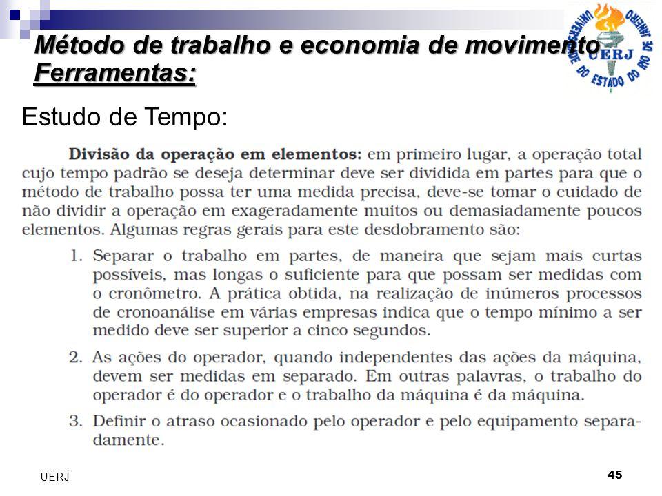 Método de trabalho e economia de movimento Ferramentas: 45 UERJ Estudo de Tempo: