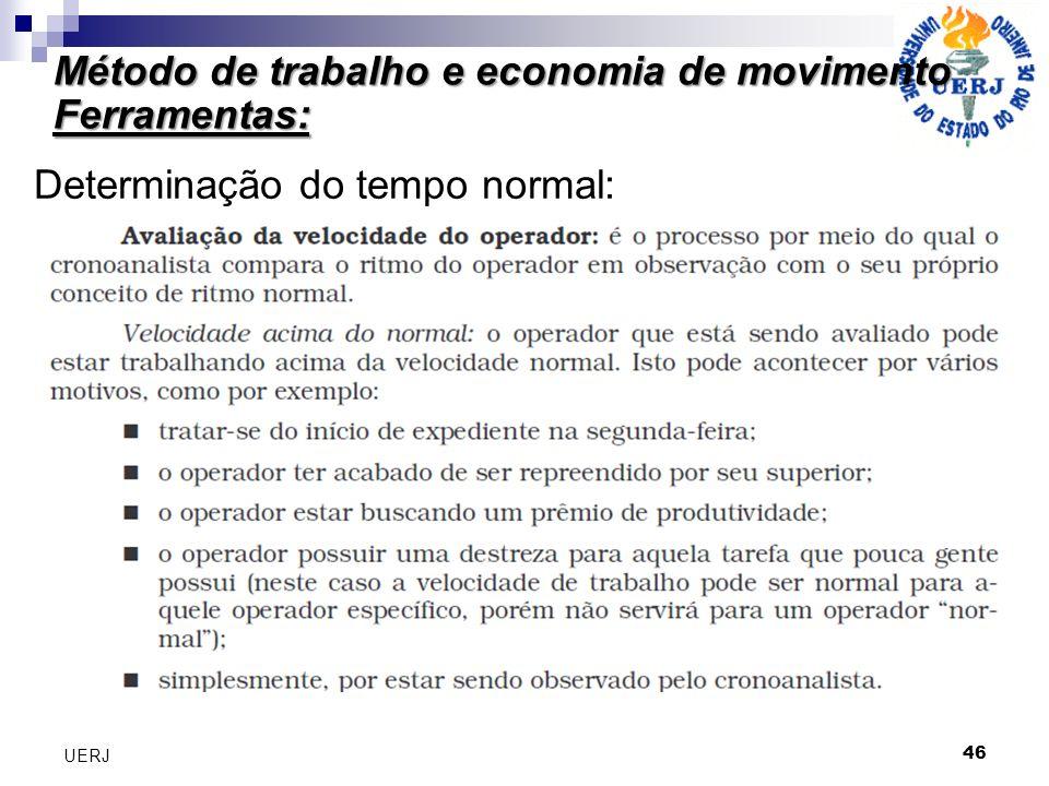 Método de trabalho e economia de movimento Ferramentas: 46 UERJ Determinação do tempo normal: