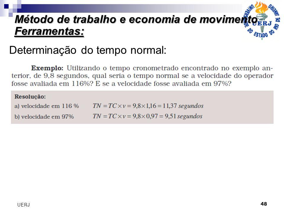 Método de trabalho e economia de movimento Ferramentas: 48 UERJ Determinação do tempo normal: