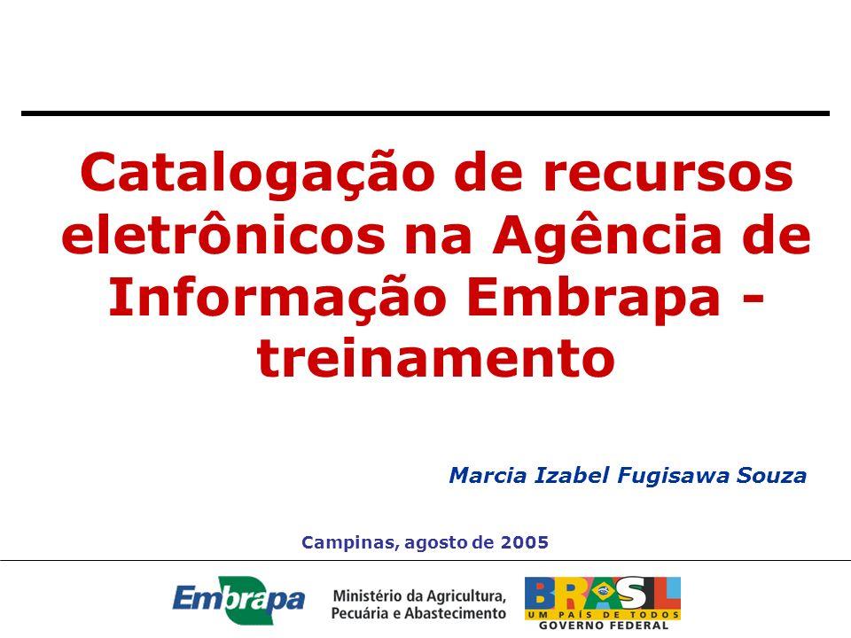 Catalogação de recursos eletrônicos na Agência de Informação Embrapa - treinamento Marcia Izabel Fugisawa Souza Campinas, agosto de 2005