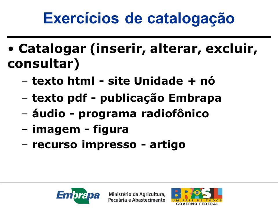 Exercícios de catalogação Catalogar (inserir, alterar, excluir, consultar) – texto html - site Unidade + nó – texto pdf - publicação Embrapa – áudio -
