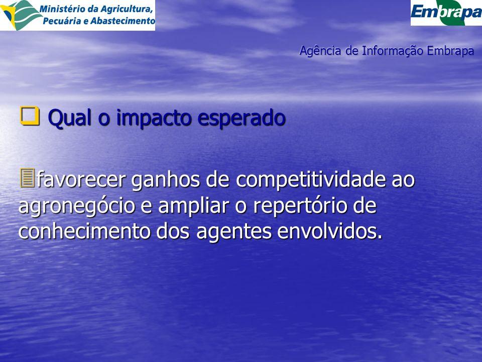 Qual o impacto esperado Qual o impacto esperado 3 favorecer ganhos de competitividade ao agronegócio e ampliar o repertório de conhecimento dos agentes envolvidos.