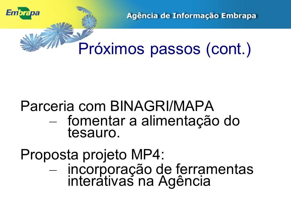 Próximos passos (cont.) Parceria com BINAGRI/MAPA – fomentar a alimentação do tesauro. Proposta projeto MP4: – incorporação de ferramentas interativas