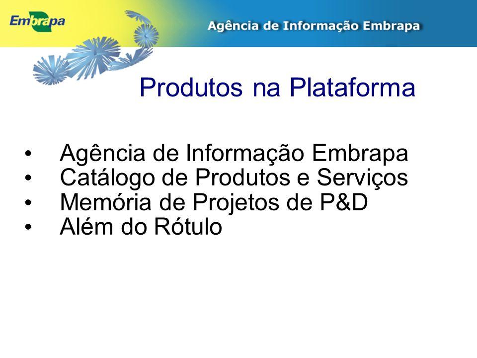 Produtos na Plataforma Agência de Informação Embrapa Catálogo de Produtos e Serviços Memória de Projetos de P&D Além do Rótulo