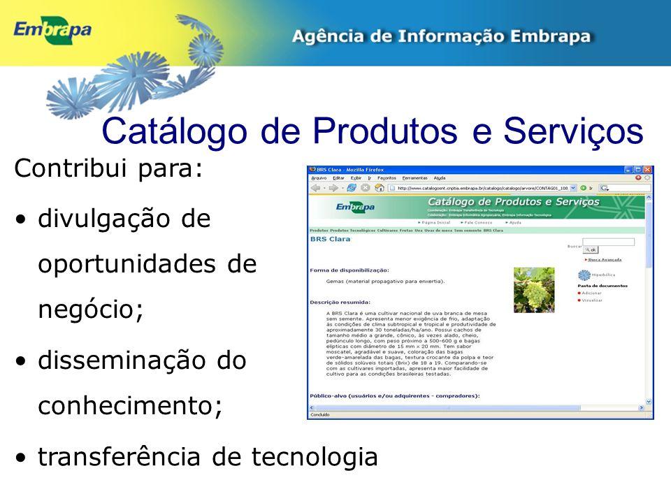 Catálogo de Produtos e Serviços Contribui para: divulgação de oportunidades de negócio; disseminação do conhecimento; transferência de tecnologia