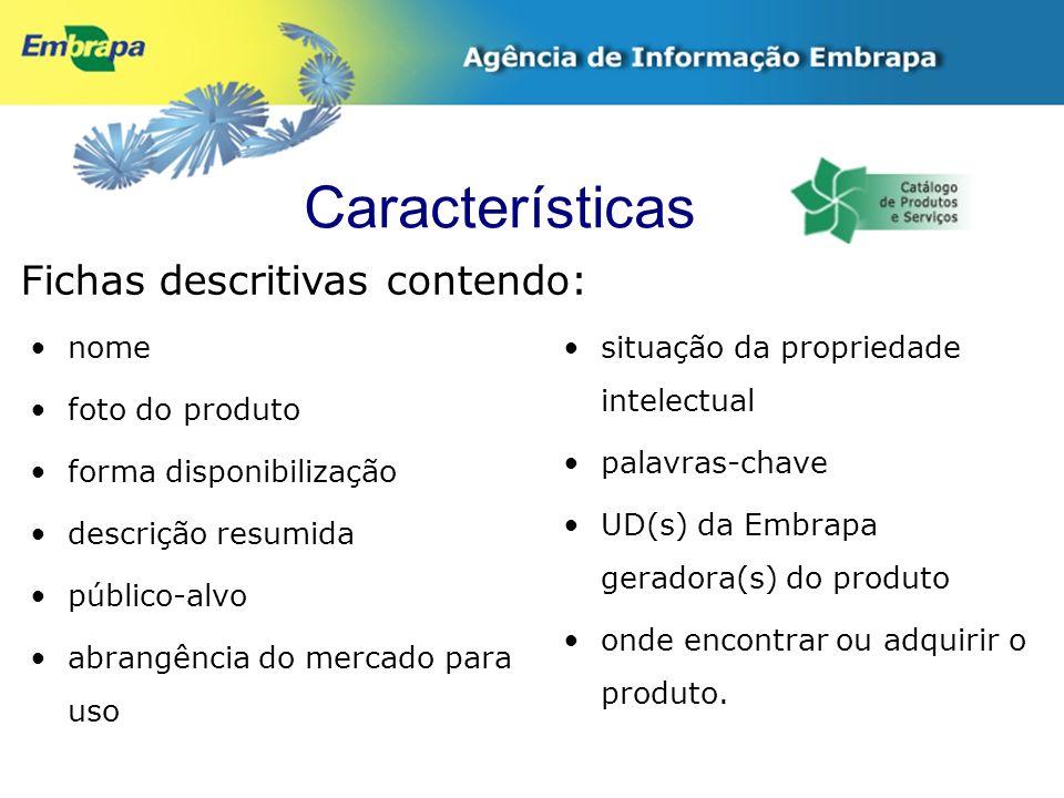 Características Fichas descritivas contendo: nome foto do produto forma disponibilização descrição resumida público-alvo abrangência do mercado para u
