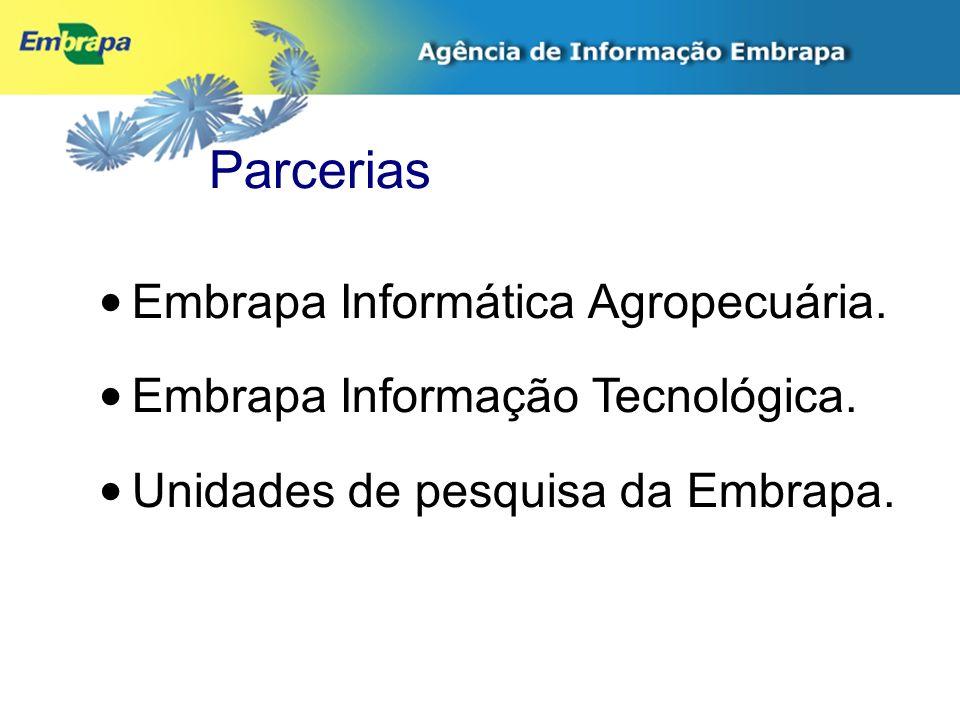 Parcerias Embrapa Informática Agropecuária. Embrapa Informação Tecnológica. Unidades de pesquisa da Embrapa.