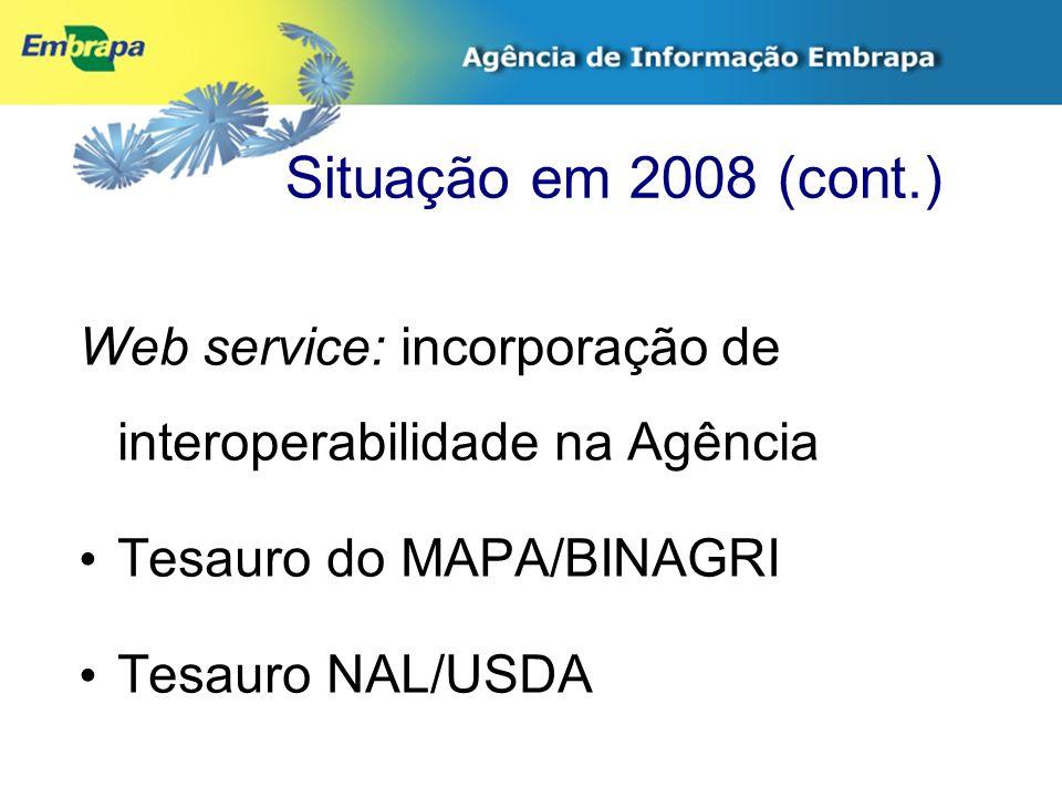 Situação em 2008 (cont.) Web service: incorporação de interoperabilidade na Agência Tesauro do MAPA/BINAGRI Tesauro NAL/USDA