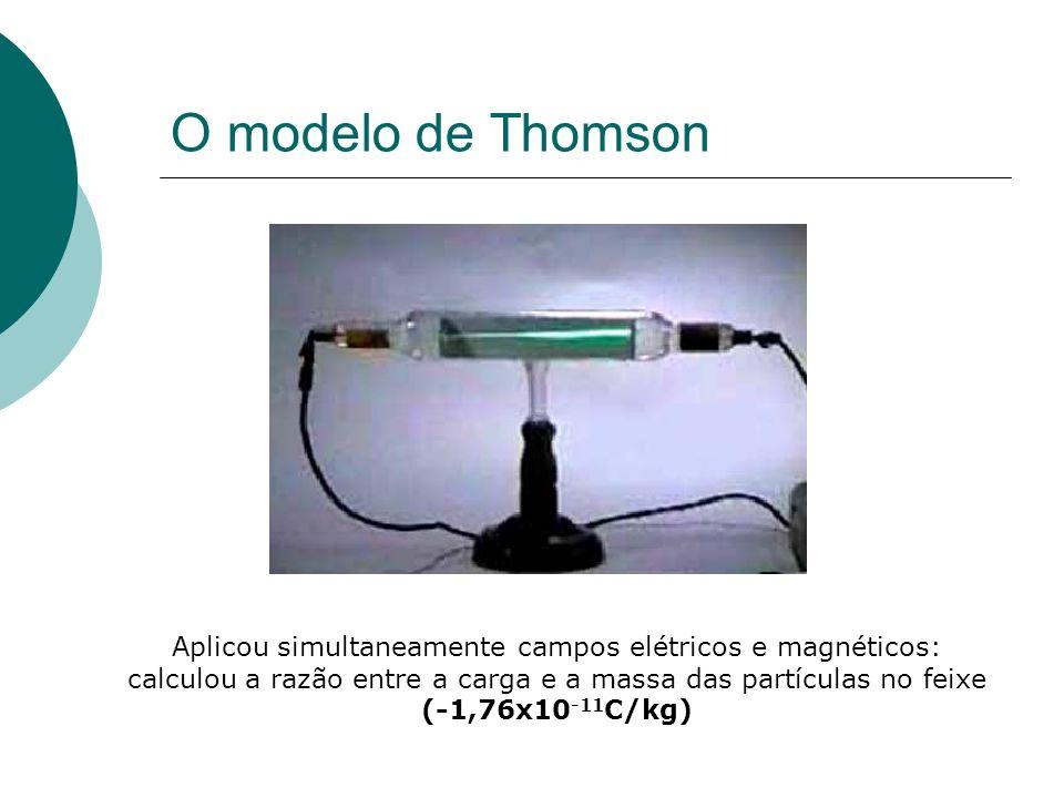 Aplicou simultaneamente campos elétricos e magnéticos: calculou a razão entre a carga e a massa das partículas no feixe (-1,76x10 -11 C/kg)