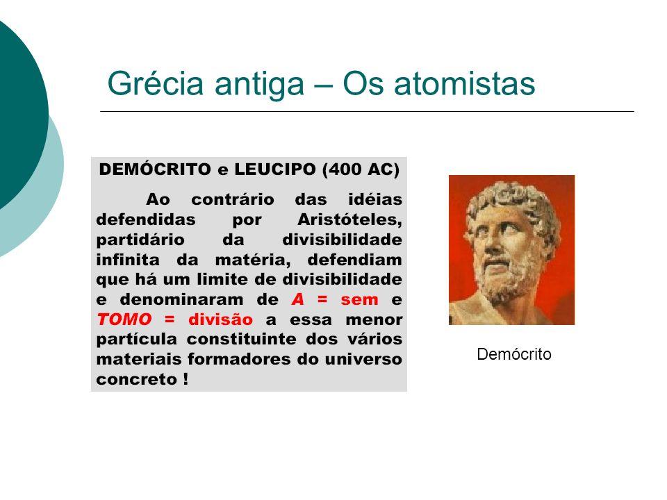 Grécia antiga – Os atomistas Epicuro atribuía massa ao átomos.