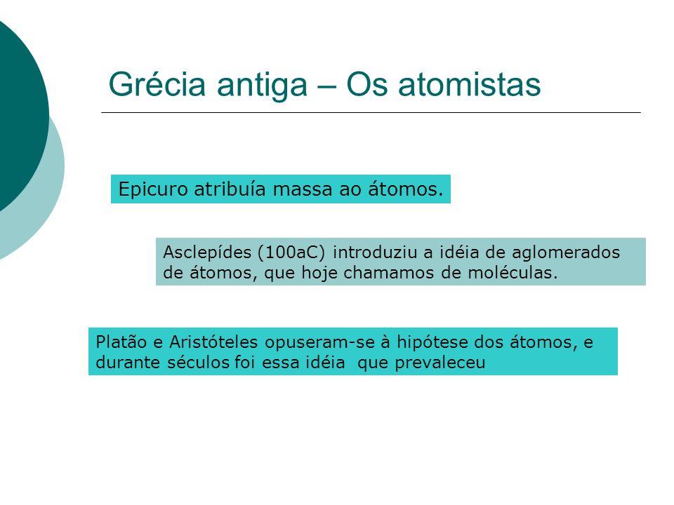 Grécia antiga – Os atomistas Epicuro atribuía massa ao átomos. Asclepídes (100aC) introduziu a idéia de aglomerados de átomos, que hoje chamamos de mo