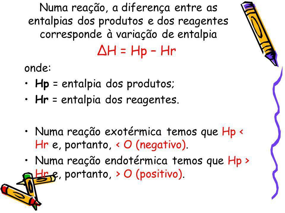 Numa reação, a diferença entre as entalpias dos produtos e dos reagentes corresponde à variação de entalpia H = Hp – Hr onde: Hp = entalpia dos produt