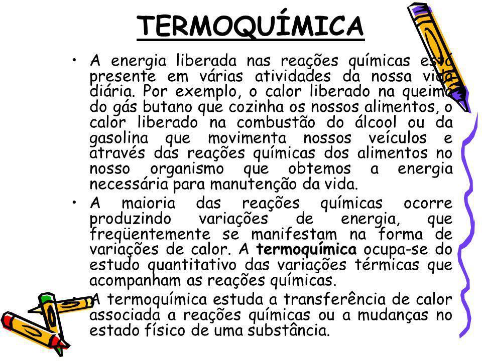 TERMOQUÍMICA A energia liberada nas reações químicas está presente em várias atividades da nossa vida diária. Por exemplo, o calor liberado na queima