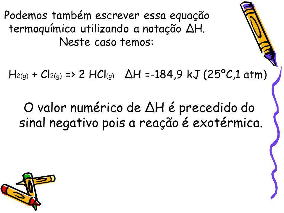 Podemos também escrever essa equação termoquímica utilizando a notação H. Neste caso temos: H 2(g) + Cl 2(g) => 2 HCl (g) H =-184,9 kJ (25ºC,1 atm) O