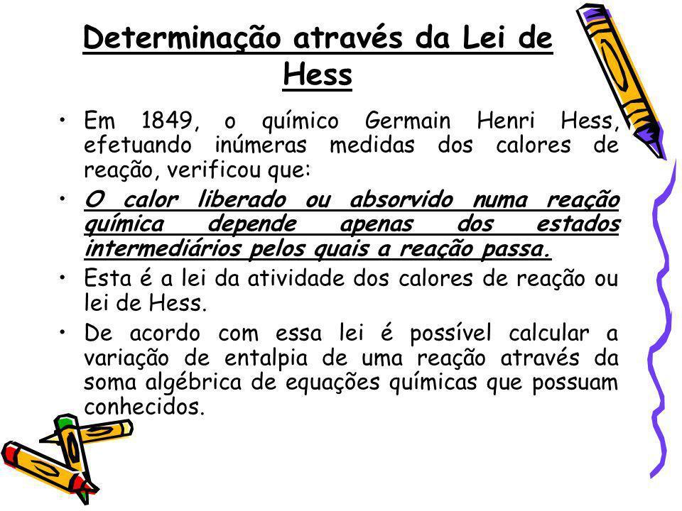 Determinação através da Lei de Hess Em 1849, o químico Germain Henri Hess, efetuando inúmeras medidas dos calores de reação, verificou que: O calor li