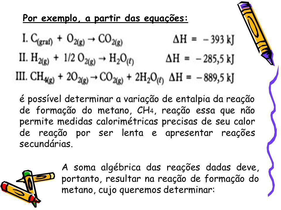 Por exemplo, a partir das equações: é possível determinar a variação de entalpia da reação de formação do metano, CH 4, reação essa que não permite me